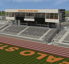 rendering looking at east side of Coyer field stadium with bleachers and press box