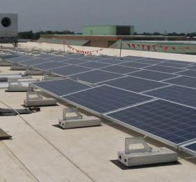 photo-voltaic panels on the roof
