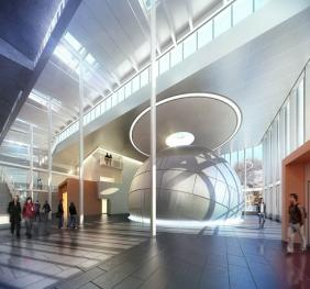 rendering of 3 story entry atrium including the planetarium
