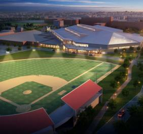 West rendering of athletic field at night for Dart St.