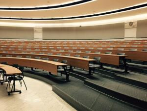 Bulger Lecture Hall with fixed tables and chairs