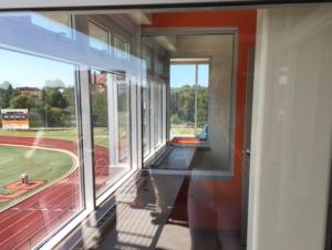 Press Box Interior seating looking out towards Coyer Field