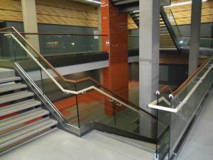 Campbell Student Union - new open stair with glass railings and skylight at the top
