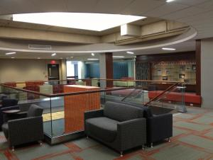 Campbell Student Union - Student Lounge second floor showing skylight and seating around new central open stair